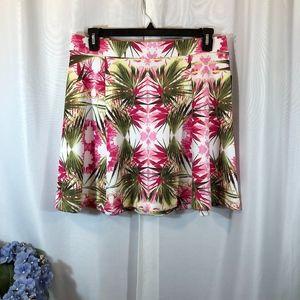 INC White Pink Floral Scuba Skater Skirt, L NWT